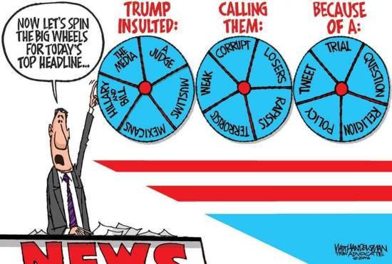 Trump headline cartoon.
