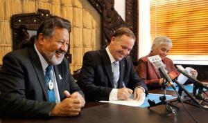Pita Sharples, John Key, Tariana Turia, signing National-Maori Party coalition agreement