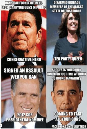 Reagan, Palin, Romney, Obama on gun laws.