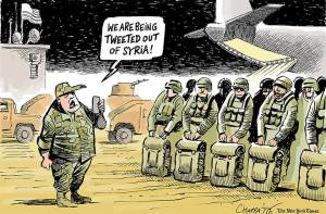 Cartoon. Text: We're being tweeted out of Syria