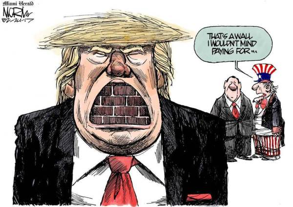"Cartoon: Trump with a wall in his mouth ""That's a wall I wouldn't mind paying for."""