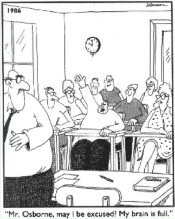 Far Side Cartoon: My Brain is Full