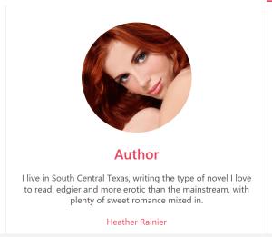 Heather Rainier Book=Main Bites - Romance profile page