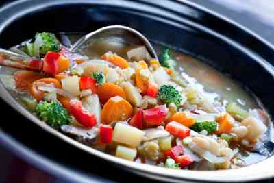 Vegetable soup in a slow cooker