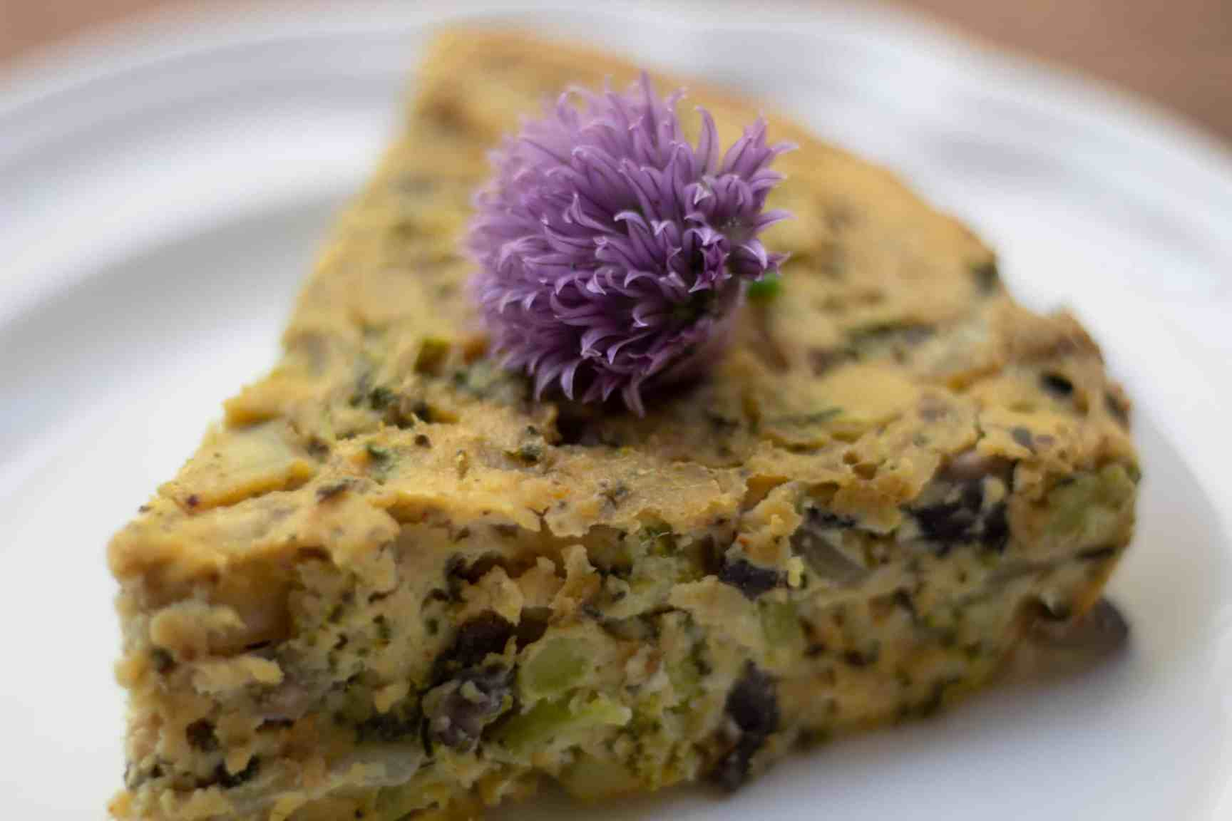 vegan quiche slice