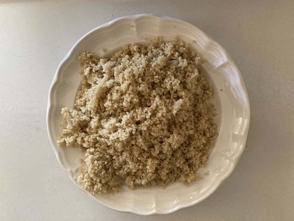 quinoa cooling on a plate