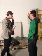 Ryan and Michael talking during construction