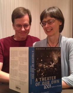 Michael and Mona reading Richard Christiansen's book A Theater of Our Own