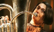 Patti LuPone and tuba in Sweeney Todd on Broadway