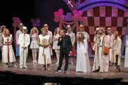 Eric Idle on stage following a performance of Spamalot at Drury Lane Oakbrook