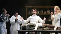 Paula Scrofano, Jeff Dumas, Devin DeSantis, Allison Sill, and Travis Taylor (horizontal) in Young Frankenstein at Drury Lane Oakbrook