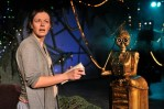 Nina O'Keefe and her robotic scene partner in Sideshow Theatre's Heddatron