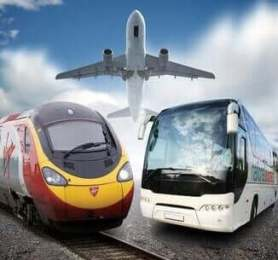 Image of a Bus Train and Airplane - how to get from heathrow to stansted airport