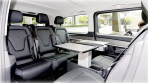 6 seater mercedes v class interior back and front facing black seat