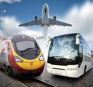 Image of Bus Train and Airplane