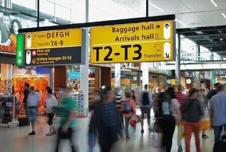 passengers at Heathrow airport terminal