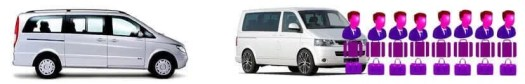 vehicle rental fleet 8 seater Mercedes V Class and Volkswagen Transporter