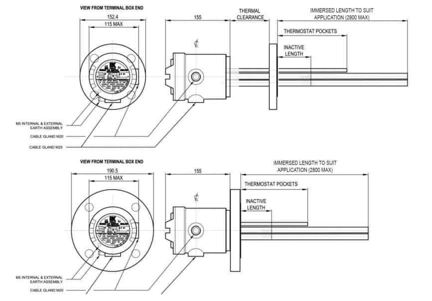 EXHEAT RFA-CA Hazardous Area Flameproof Zone 1 Immersion