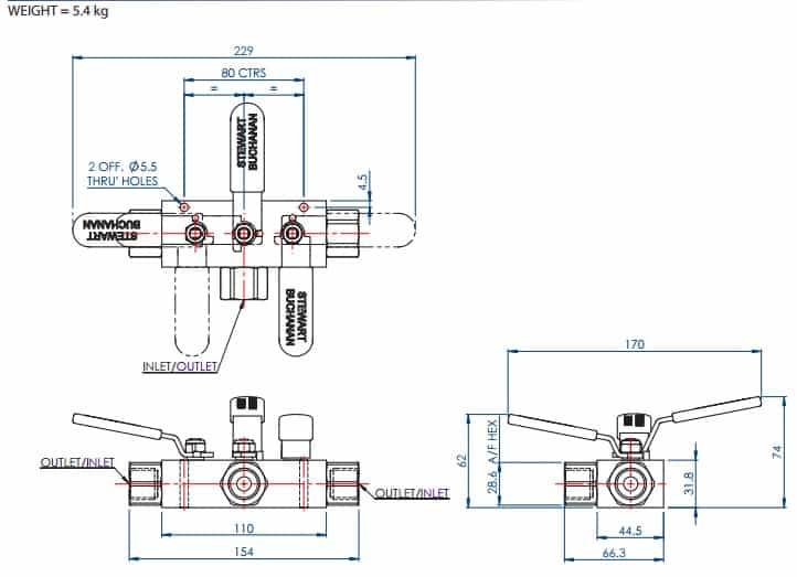 Double Block & Bleed Valve (DBB) Central L Ported Ball