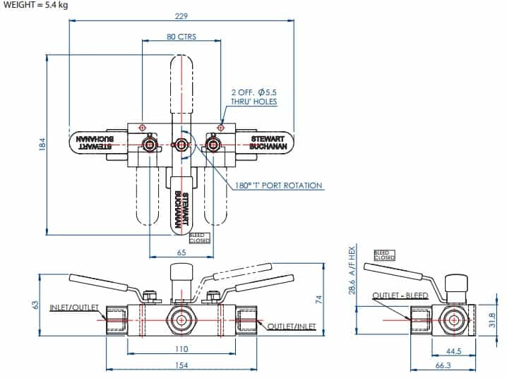 Double Block & Bleed Valve (DBB) Central T Ported Ball