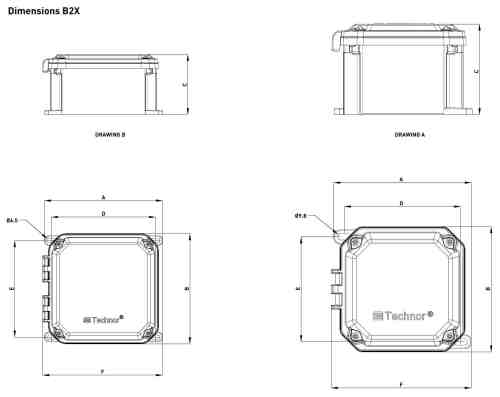 small resolution of explosion proof hazardous area technor b2x grp junction boxes dimensions