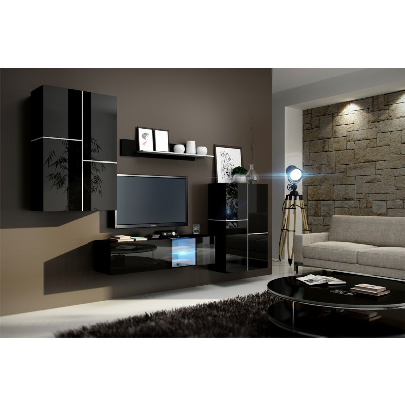 living room furniture black gloss wall colors for with gray 2 inbox unit set matte