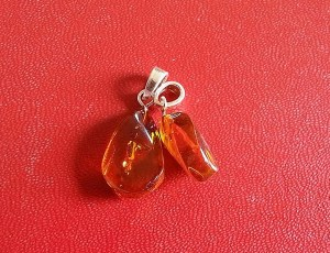 Faceted amber drop pendant