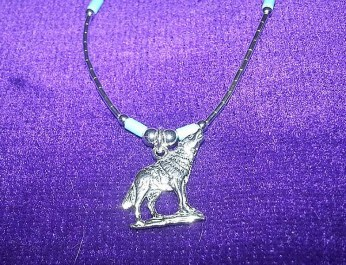 wolf necklace new close up