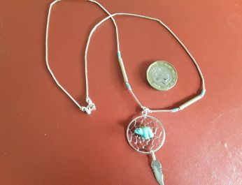 Large Dreamcatcher Necklace with Turq bear 2