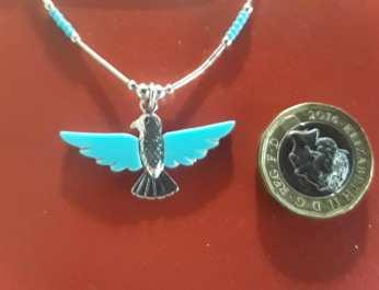 Eagle in Flight Turq & Silver w Lqd silver chain 2