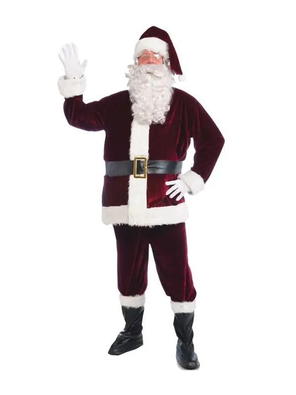 Crimson Velvet Father Christmas Costume Santa Claus Suits Australia