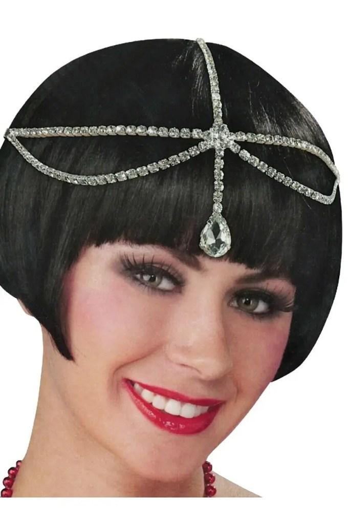 roaring 20's women's diamante head jewellery costume accessory