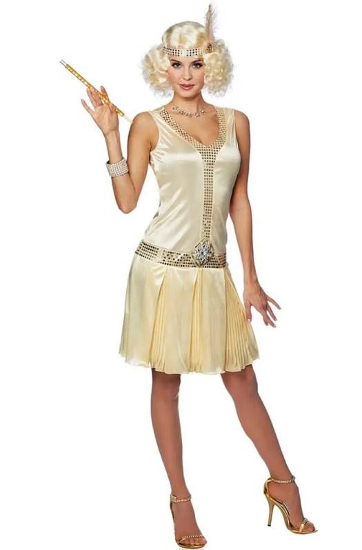 Women's Vintage Gold Flapper Dress | Deluxe Gold 1920s ...