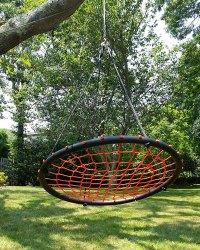 100cm Orange Round Spider Web Nest Swing - Heavenly Hammocks
