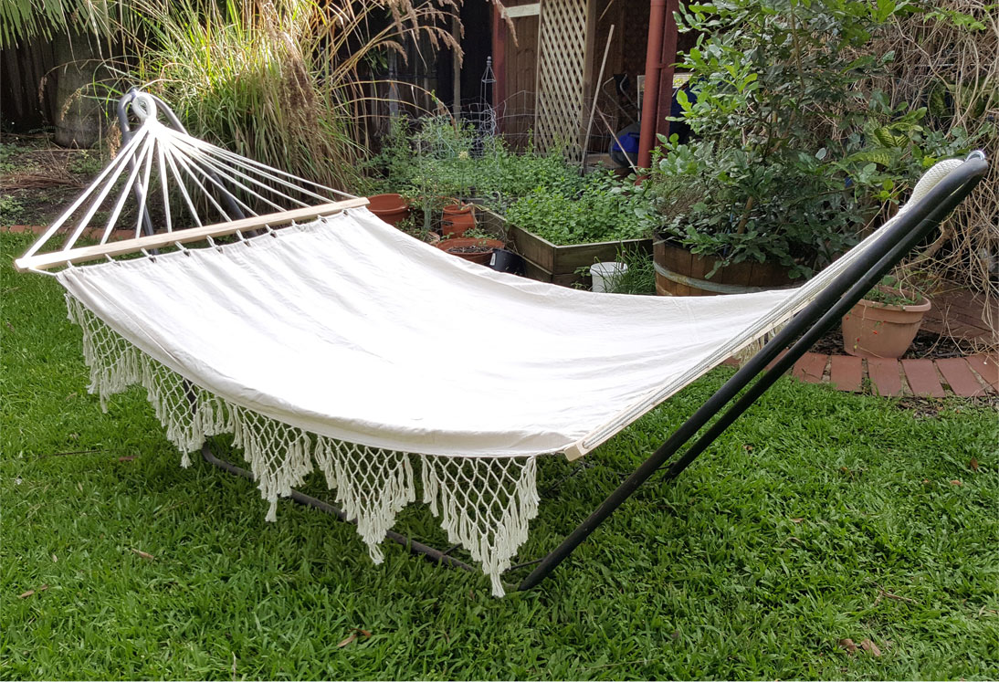 Large White Canvas Hammock With Spreader Bar And Tassels
