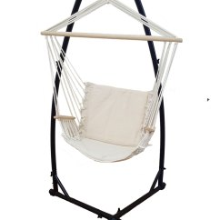 Hanging Chair And Stand Modern Orange Beige Padded Hammock With Armrests 43