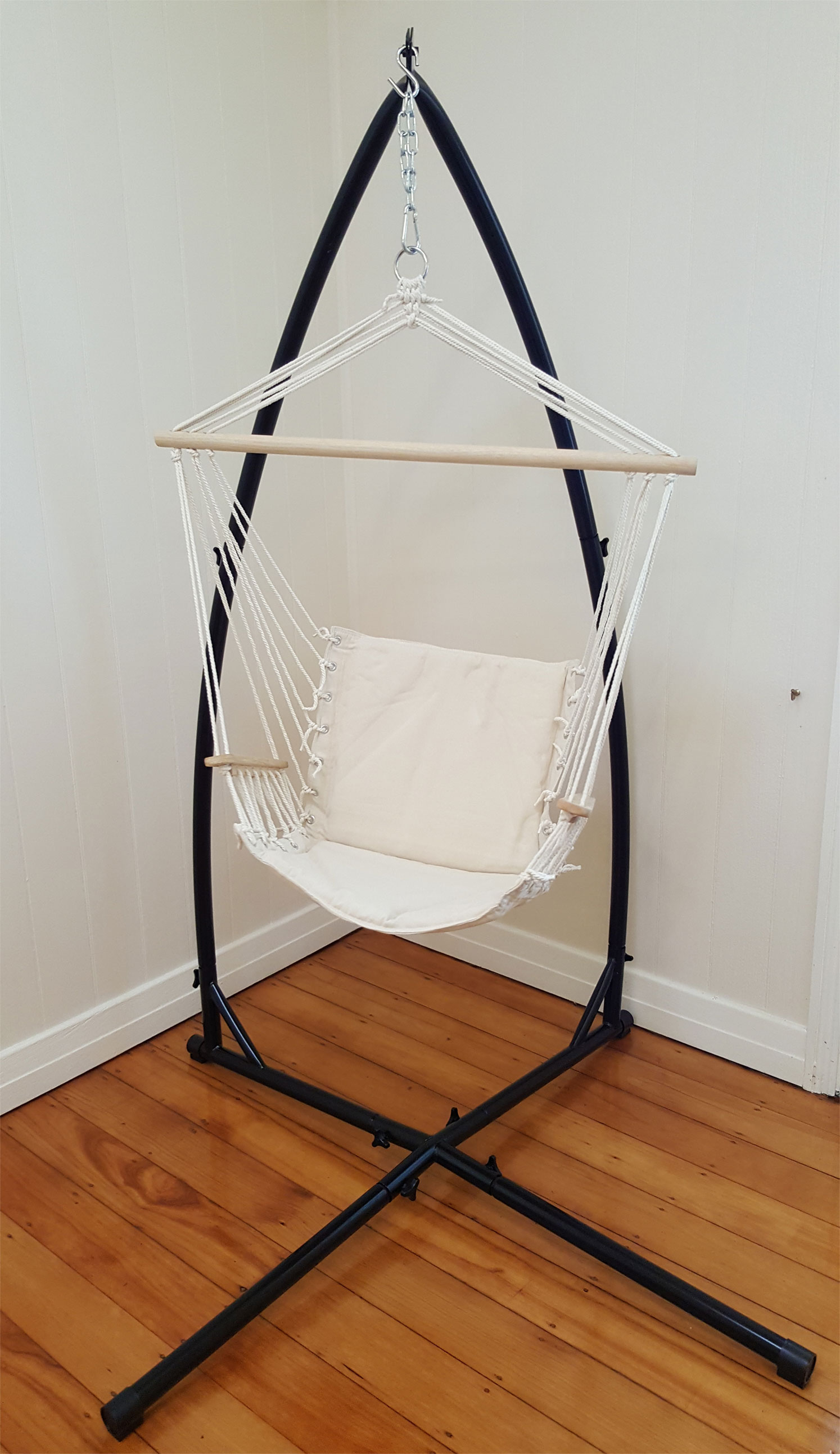 hanging chair ebay au under laptop stand beige padded hammock with armrests 43