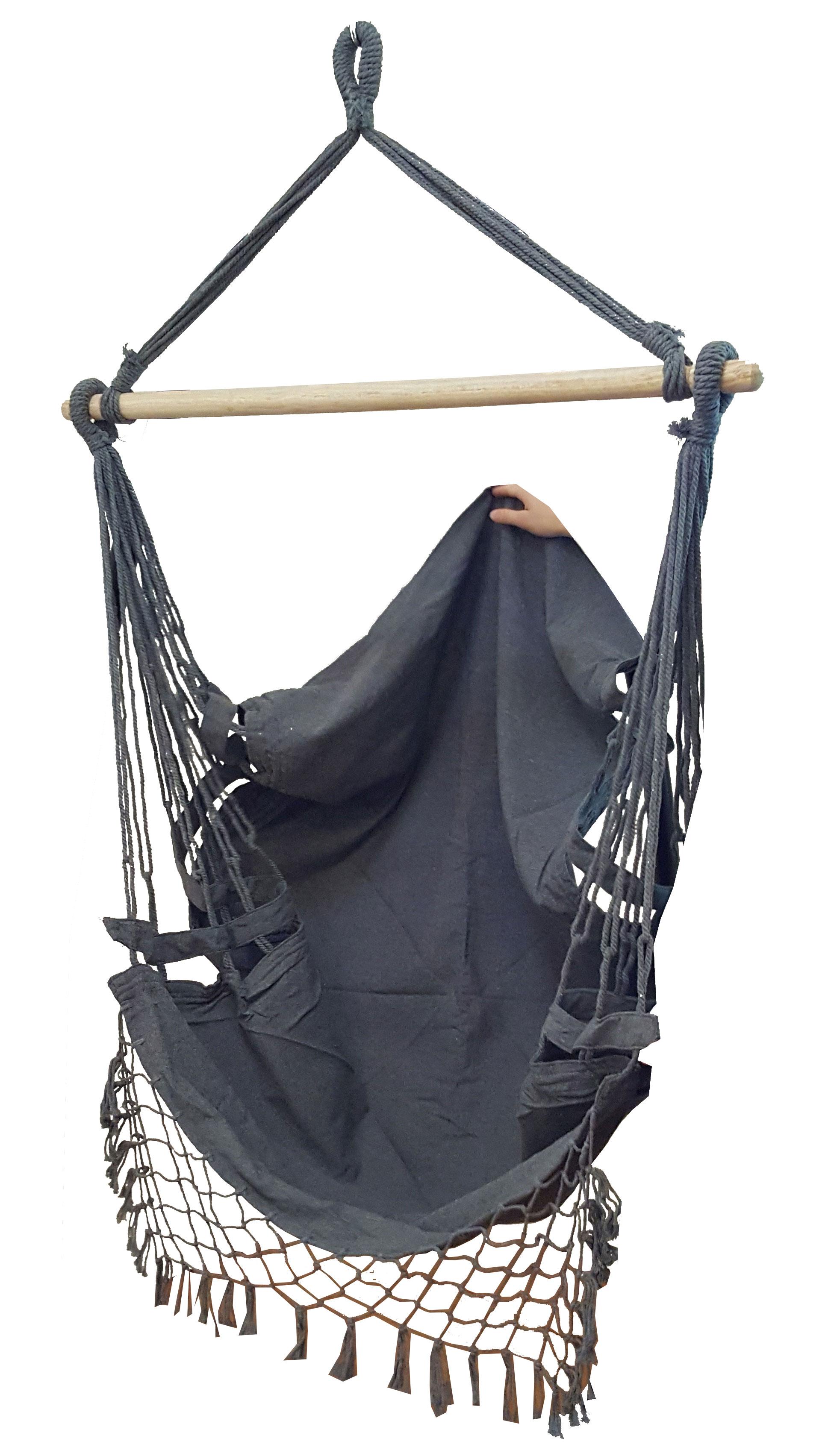 Black Canvas Hammock Chair With Tassels