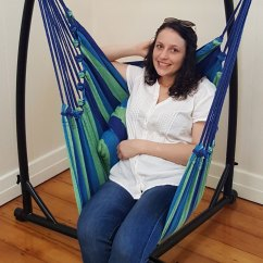 Yoga Swing Chair Pet Covers Canada Blue Canvas Hammock With Pillows Heavenly Hammocks