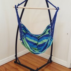 Hammock Chair Stands Revolving Gif Blue Padded With Pillows Stand