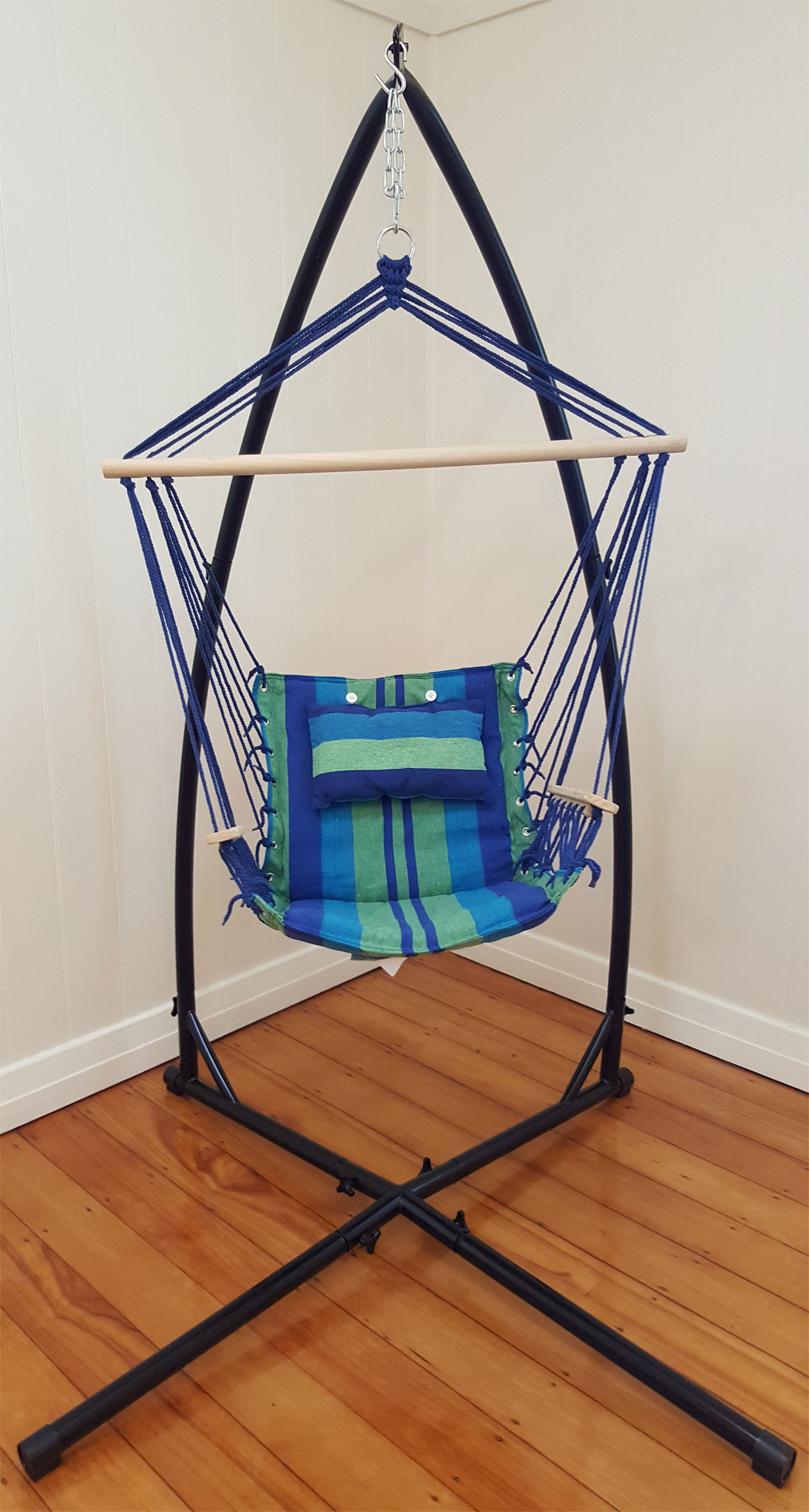 hanging chair without stand heavy duty casters blue padded hammock with wooden arm rests and pillow