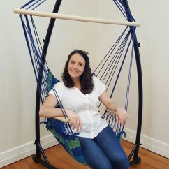 Hammock Chair And Stand Vinyl Lawn Webbing Replacement Blue Padded With Wooden Arm Rests Pillow
