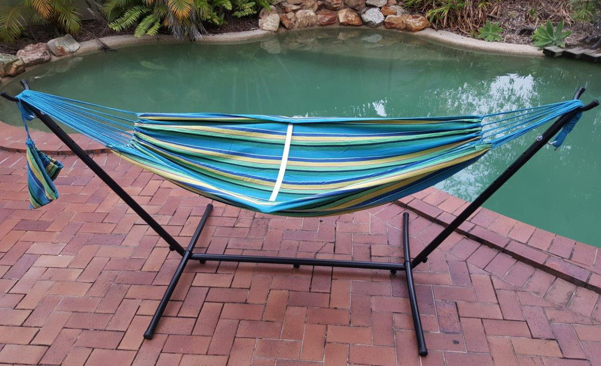 Free Standing Teal Blue Canvas Hammock with Fixed Stand  eBay