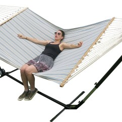 Hammock Chair Stand Adjustable Covers Lincraft X Large Free Standing Blue And White Canvas