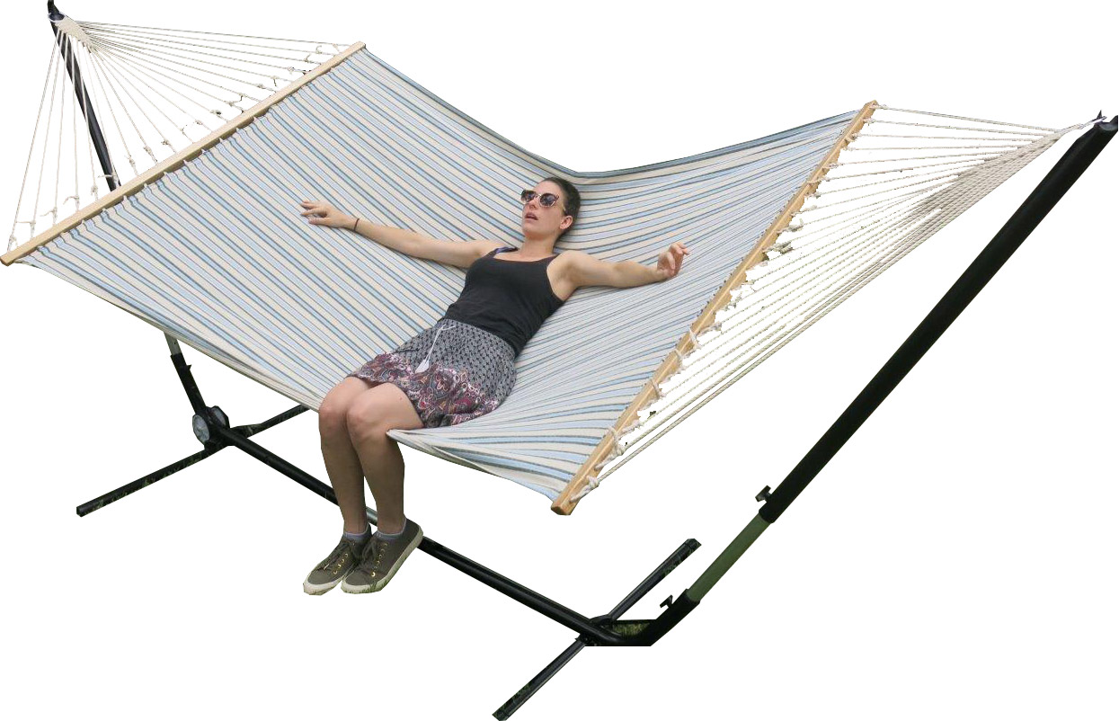 X Large Free Standing Hammock Blue And White Canvas