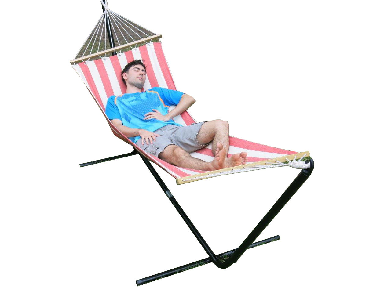 hammock chair stand adjustable wheelchair neck support free standing single red and white canvas