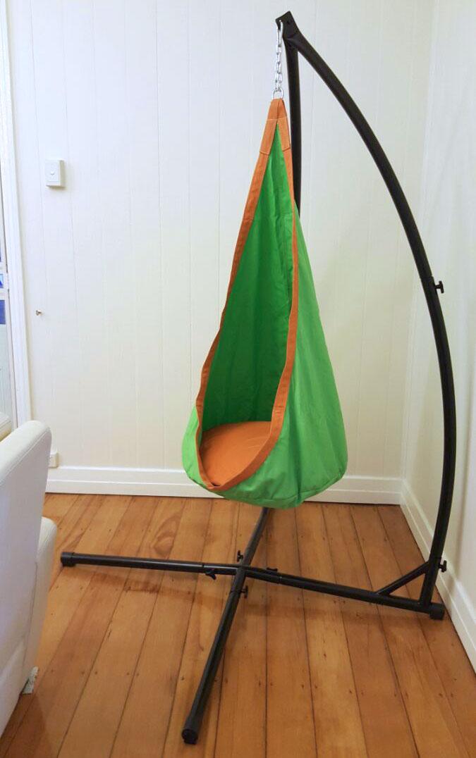 hammock chair swings blue dining covers uk green and orange waterproof sensory swing with stand - heavenly hammocks