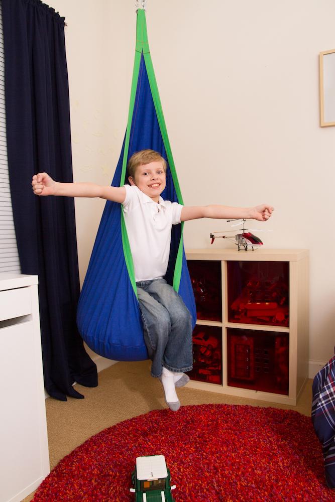 hanging tree swing chair slipper means blue and green kids sensory pod - heavenly hammocks