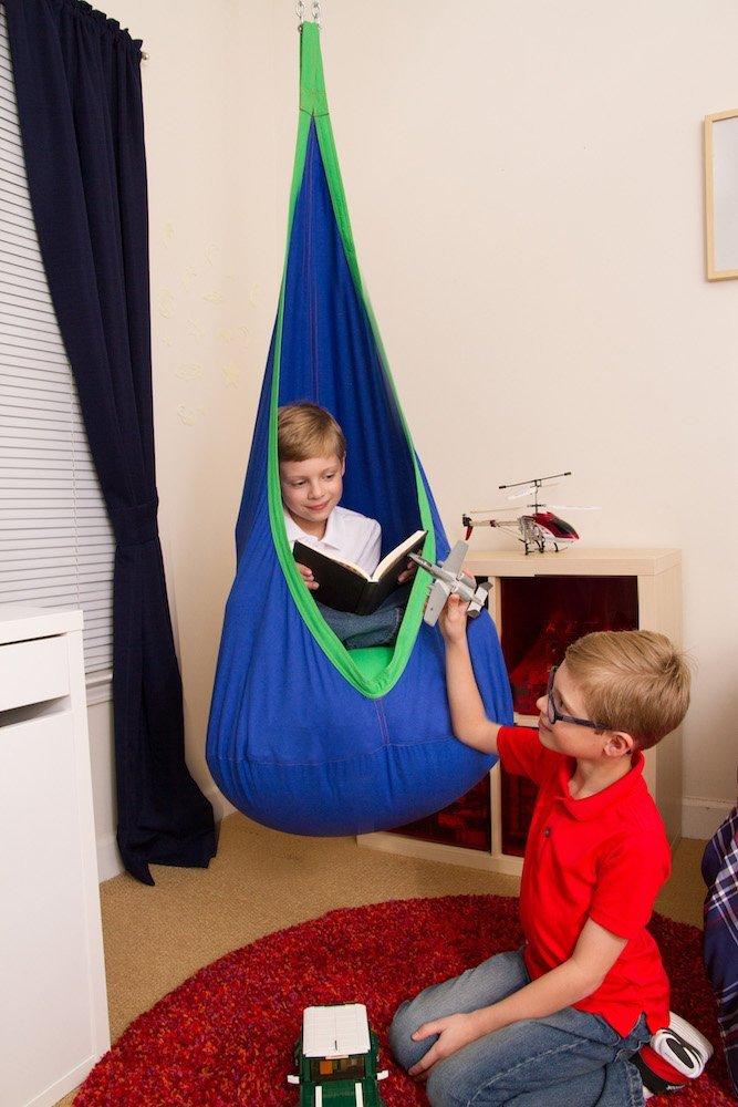 hanging hammock chairs outdoors desk chair no wheels target blue and green kids sensory swing pod - heavenly hammocks