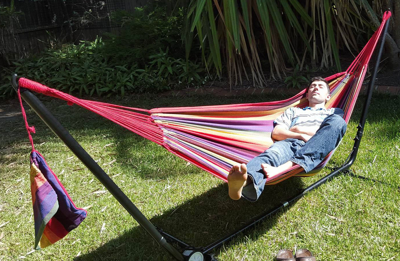 hammock chair stand adjustable covers for table free standing purple and red multi coloured